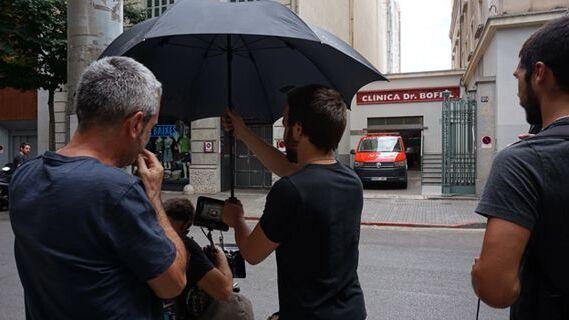 """Pere Solés al rodatge del film """"Ara"""" a la Clínica Bofill Girona"""
